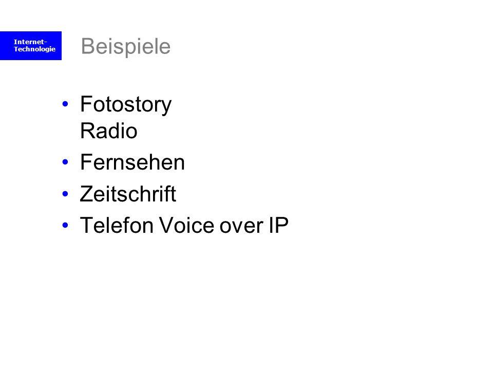 Beispiele Fotostory Radio Fernsehen Zeitschrift Telefon Voice over IP