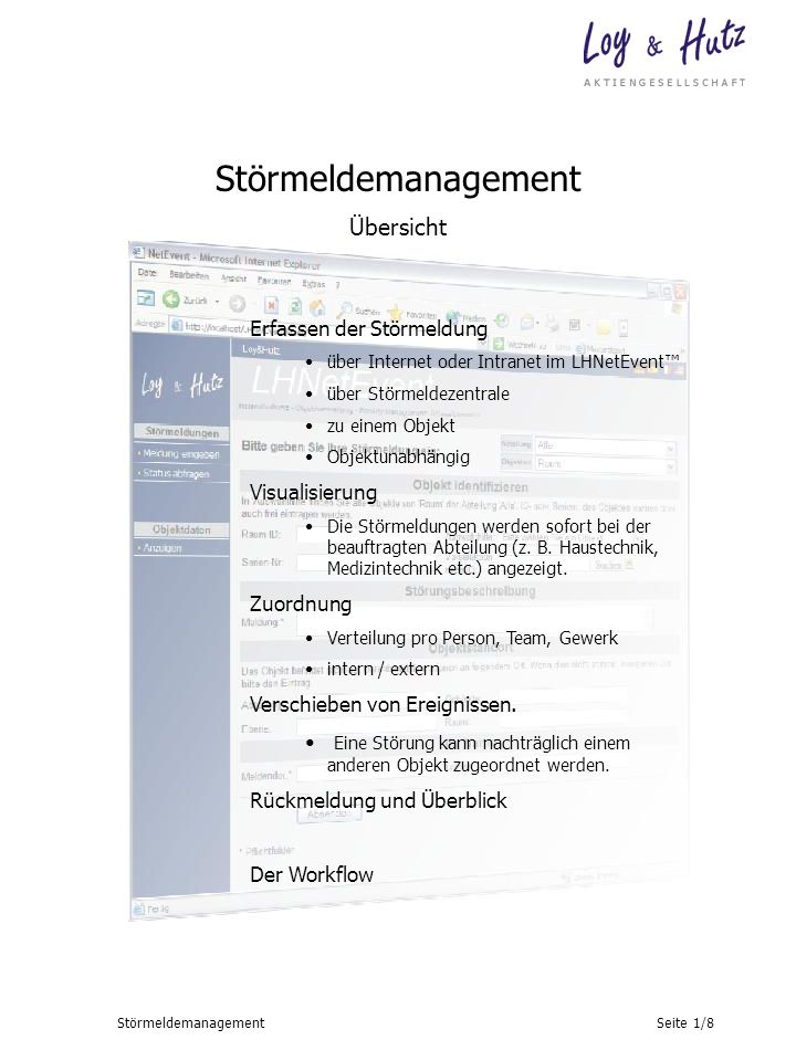 Störmeldemanagement Übersicht Erfassen der Störmeldung Visualisierung