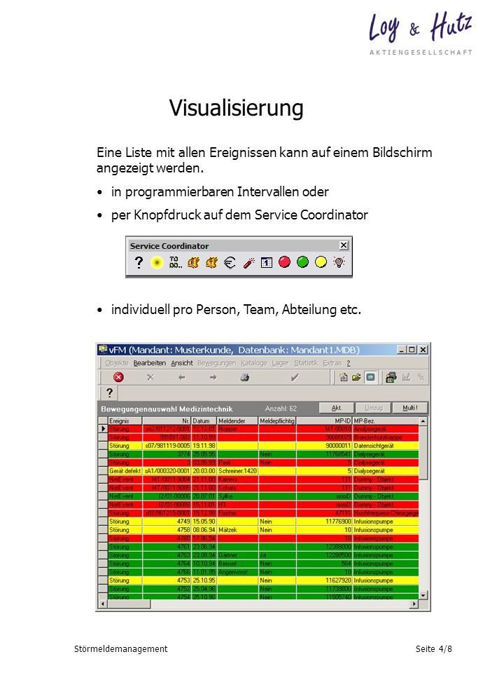 Visualisierung Eine Liste mit allen Ereignissen kann auf einem Bildschirm angezeigt werden. in programmierbaren Intervallen oder.