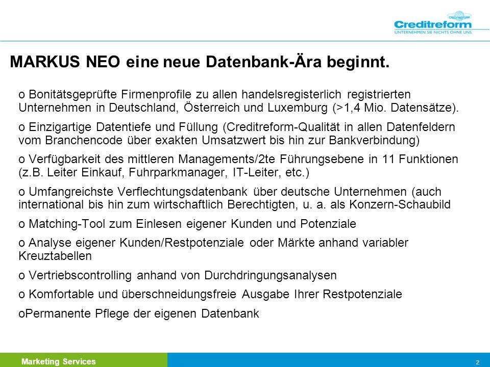 MARKUS NEO eine neue Datenbank-Ära beginnt.