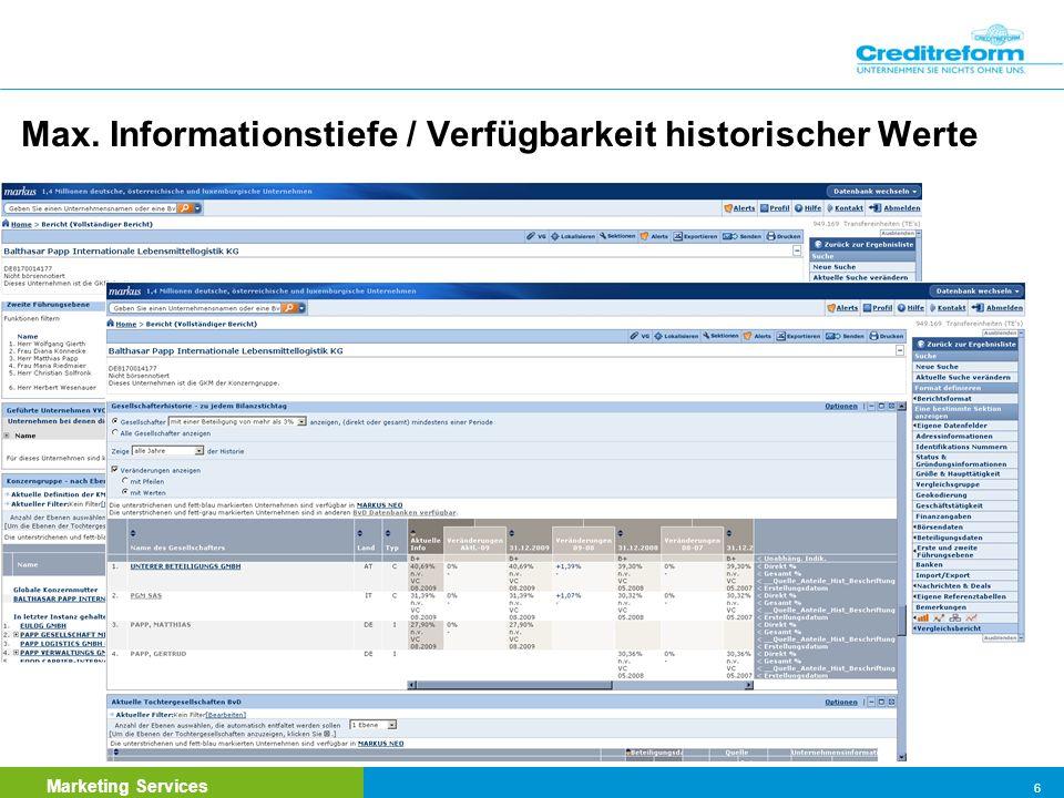 Max. Informationstiefe / Verfügbarkeit historischer Werte