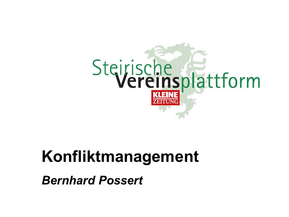 Konfliktmanagement Bernhard Possert