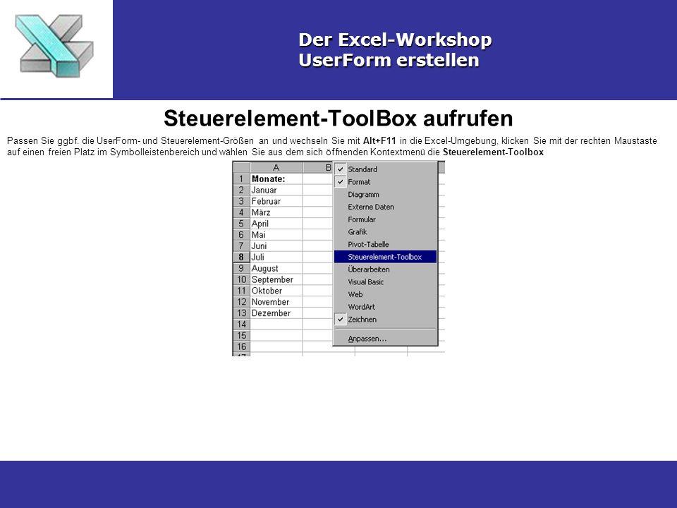 Steuerelement-ToolBox aufrufen