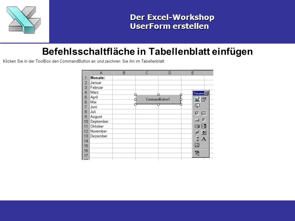 Befehlsschaltfläche in Tabellenblatt einfügen