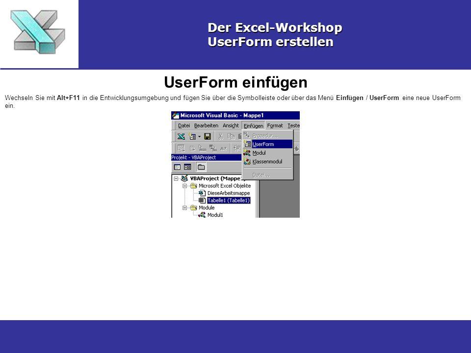 UserForm einfügen Der Excel-Workshop UserForm erstellen