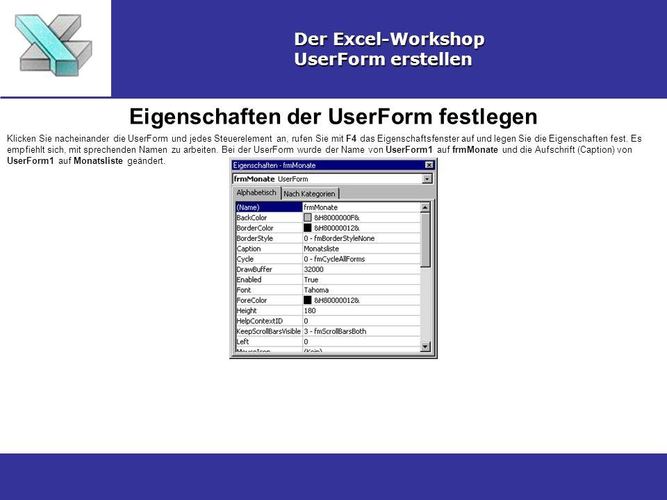 Eigenschaften der UserForm festlegen