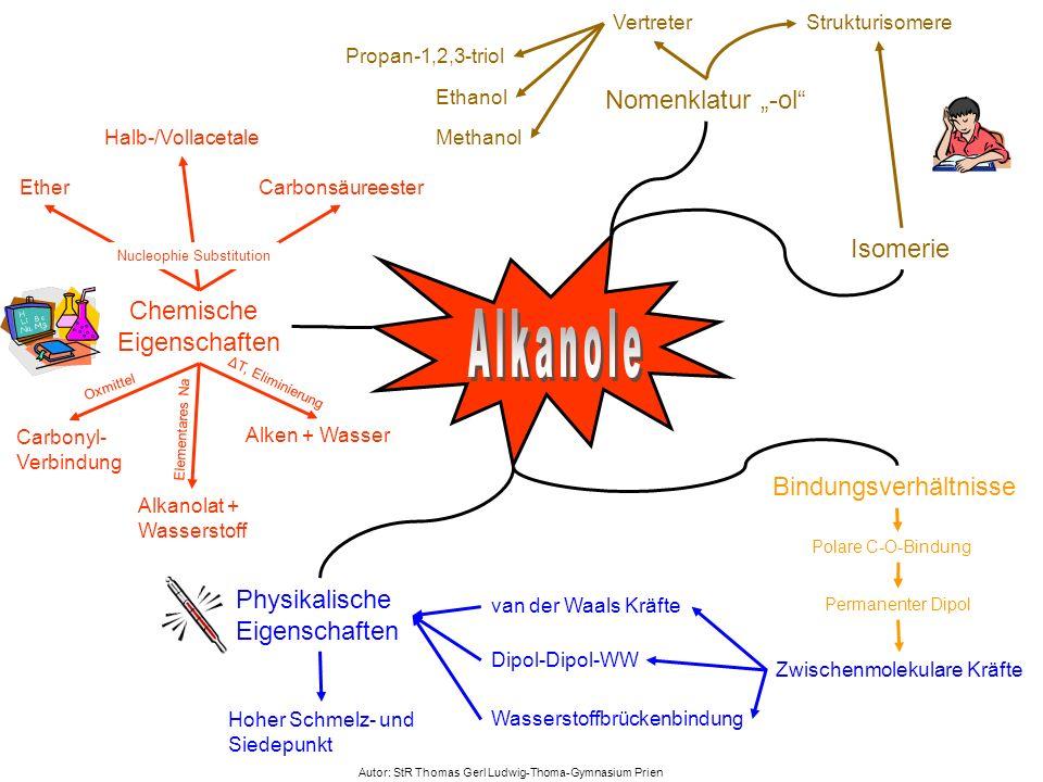 """Alkanole Nomenklatur """"-ol Isomerie Chemische Eigenschaften"""