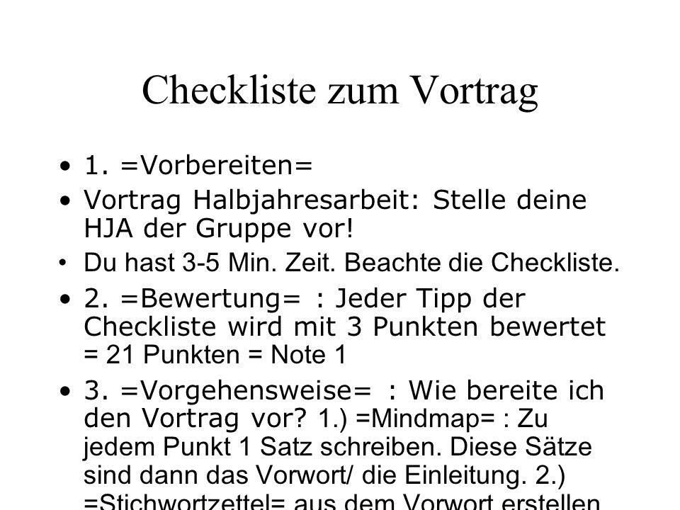 Checkliste zum Vortrag