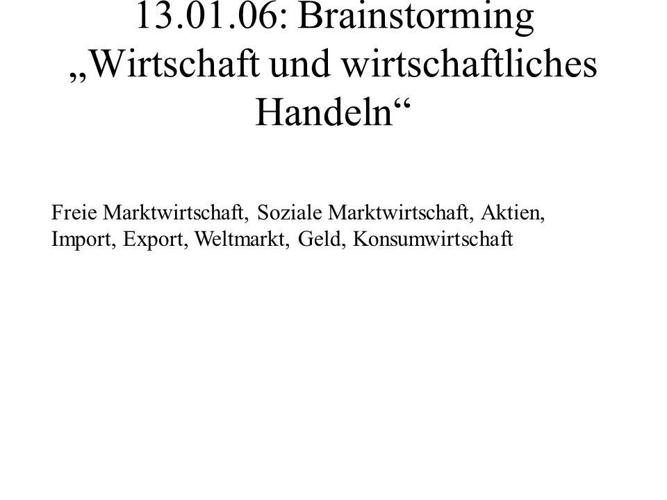 """13.01.06: Brainstorming """"Wirtschaft und wirtschaftliches Handeln"""