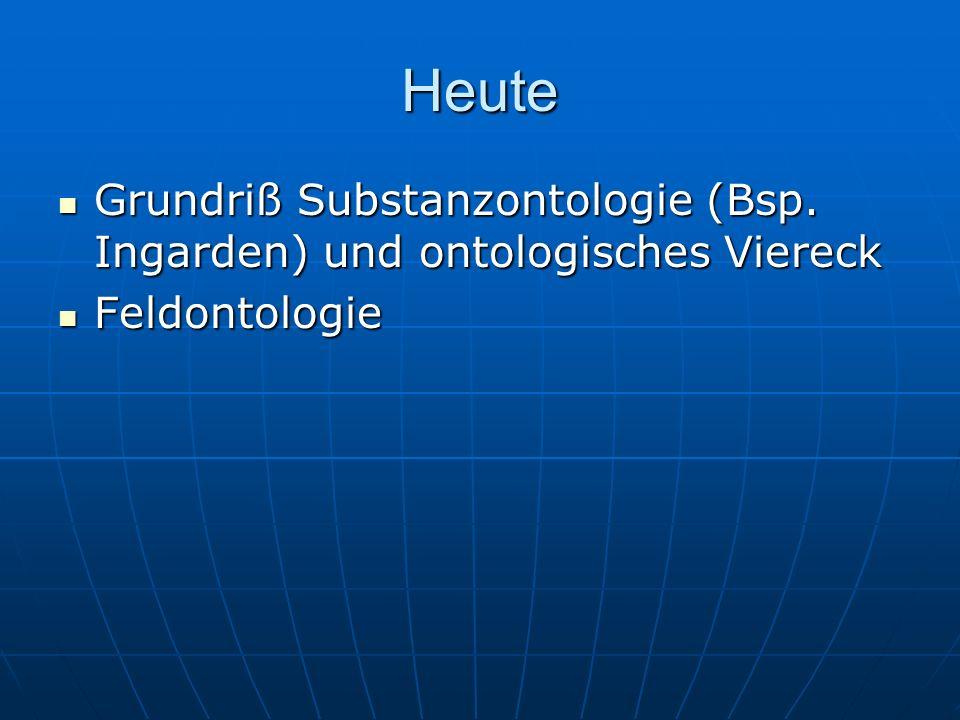 Heute Grundriß Substanzontologie (Bsp. Ingarden) und ontologisches Viereck Feldontologie