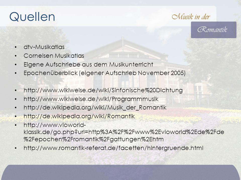 Quellen dtv-Musikatlas Cornelsen Musikatlas