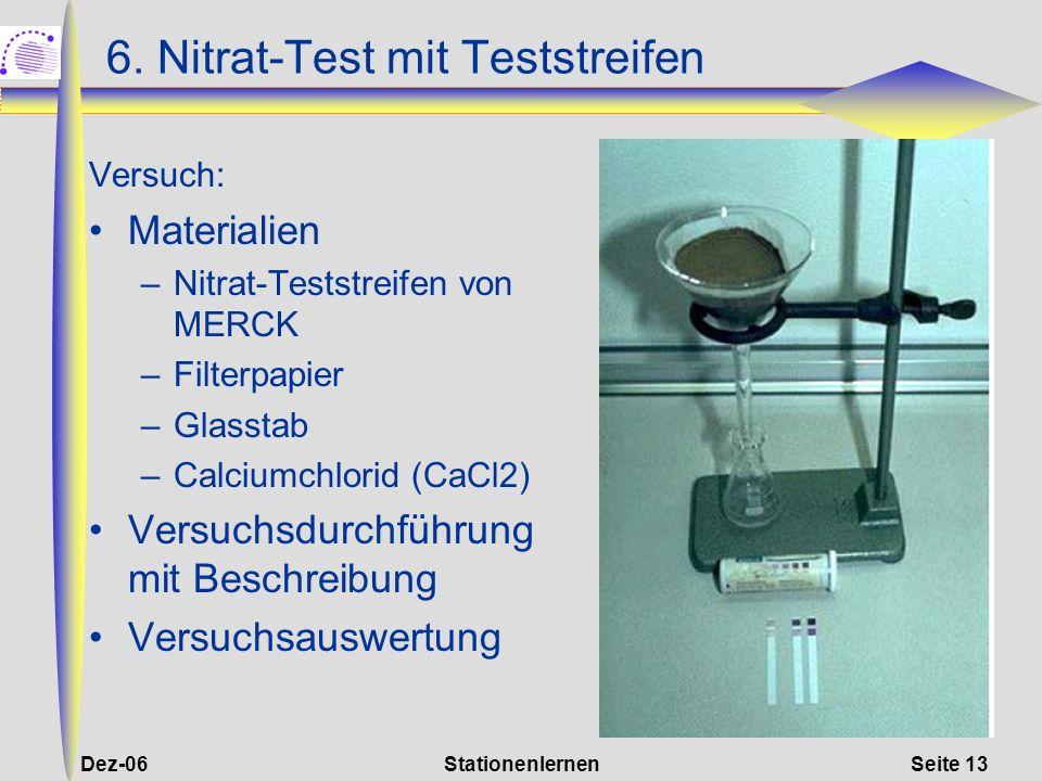 6. Nitrat-Test mit Teststreifen