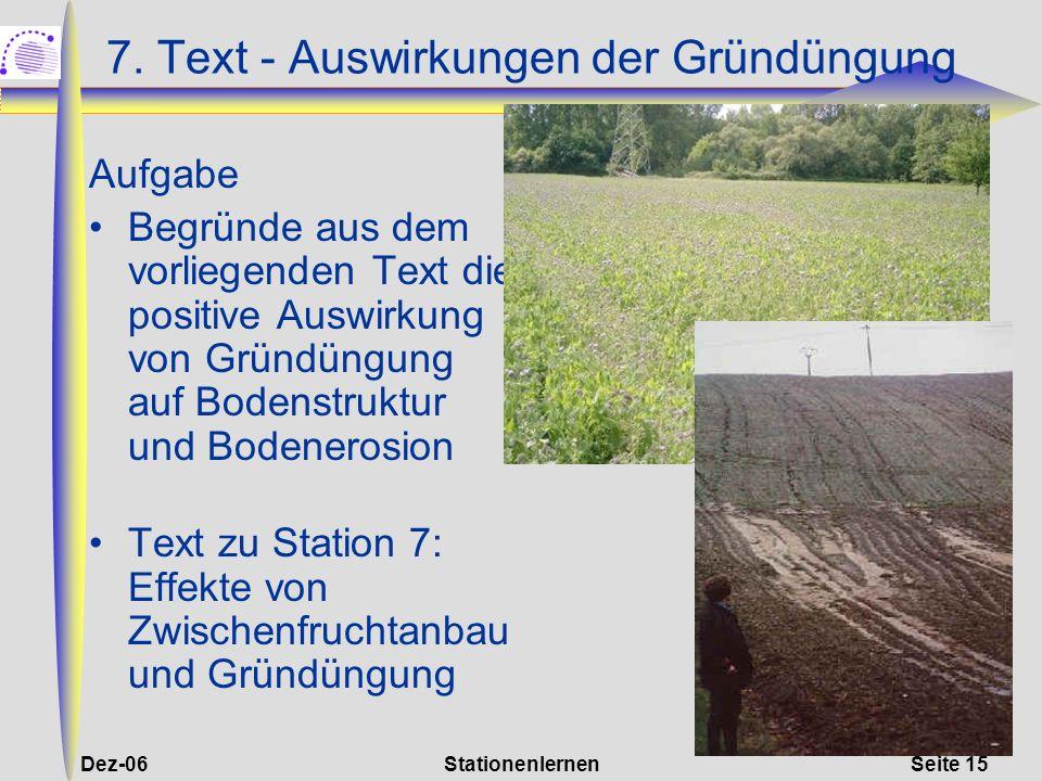 7. Text - Auswirkungen der Gründüngung