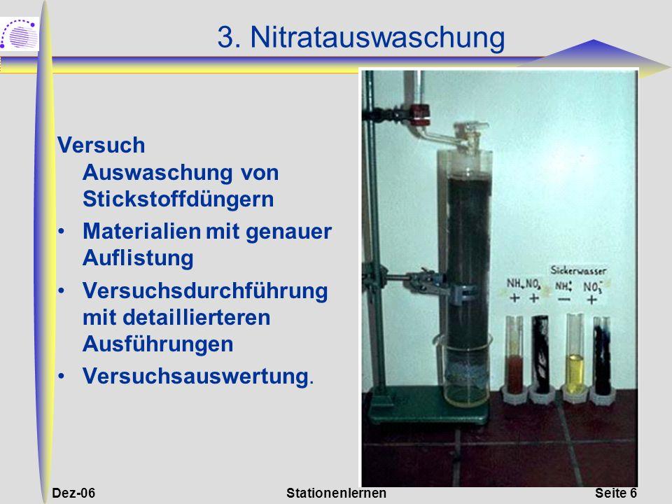 3. Nitratauswaschung Versuch Auswaschung von Stickstoffdüngern