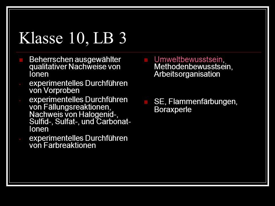Klasse 10, LB 3 Beherrschen ausgewählter qualitativer Nachweise von Ionen. experimentelles Durchführen von Vorproben.
