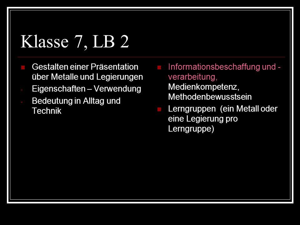 Klasse 7, LB 2 Gestalten einer Präsentation über Metalle und Legierungen. Eigenschaften – Verwendung.