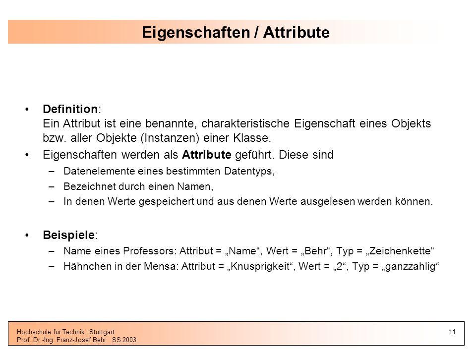 Eigenschaften / Attribute
