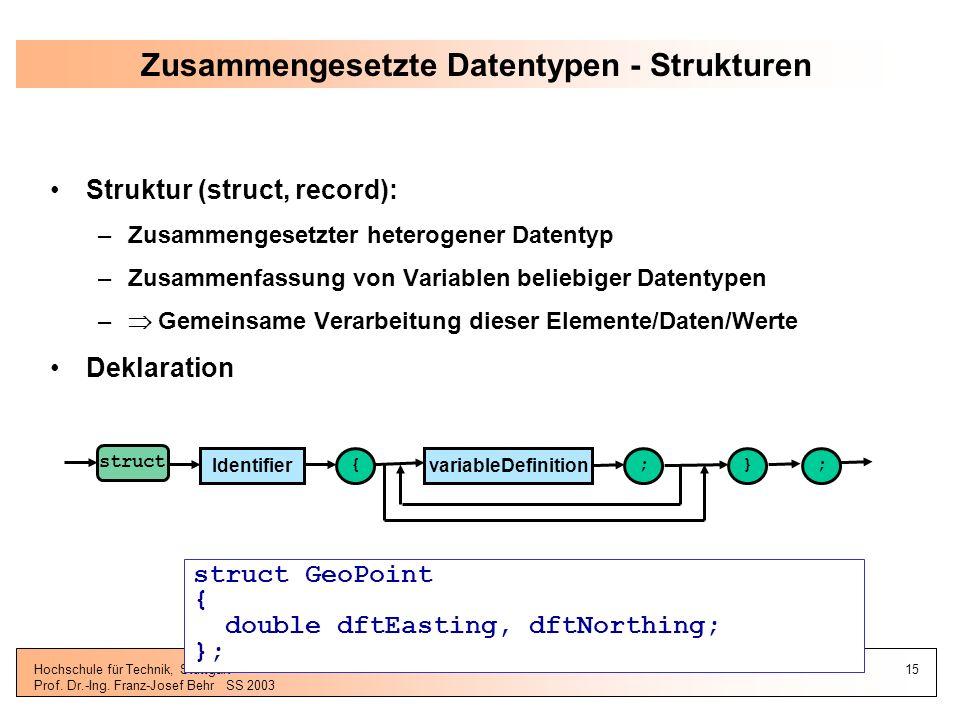 Zusammengesetzte Datentypen - Strukturen