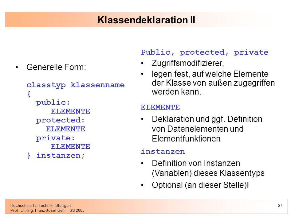 Klassendeklaration II