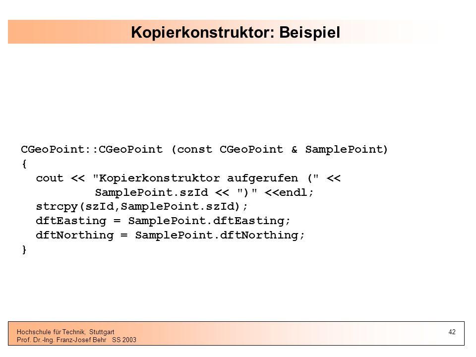 Kopierkonstruktor: Beispiel