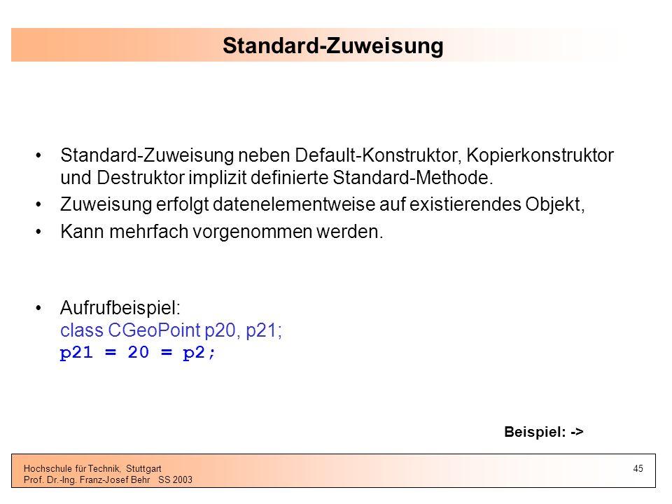 Standard-Zuweisung Standard-Zuweisung neben Default-Konstruktor, Kopierkonstruktor und Destruktor implizit definierte Standard-Methode.