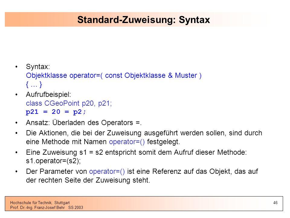 Standard-Zuweisung: Syntax