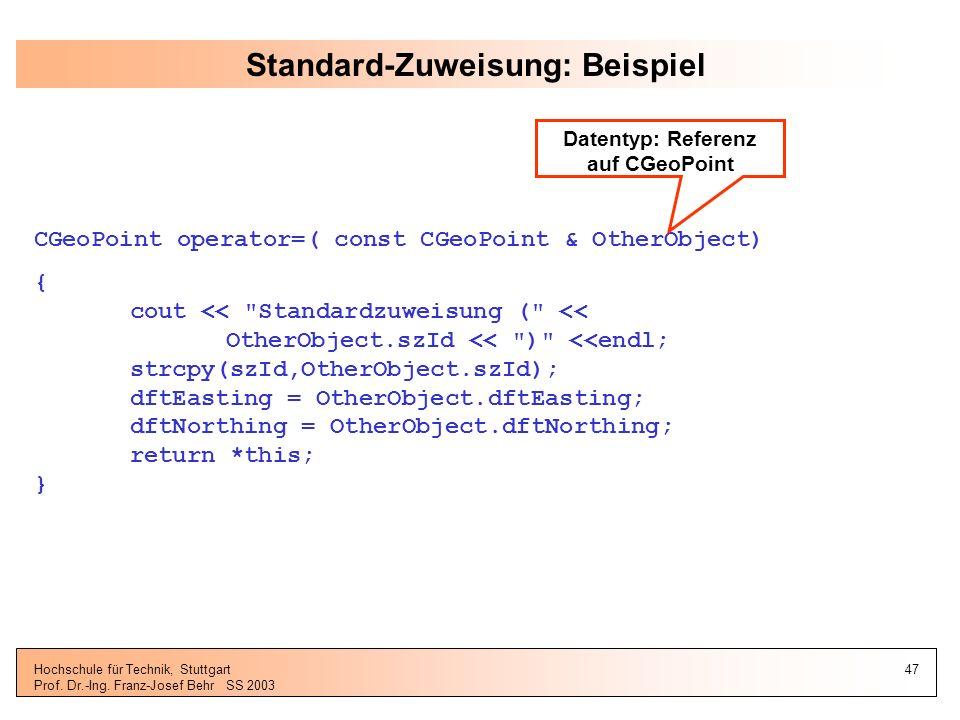 Standard-Zuweisung: Beispiel