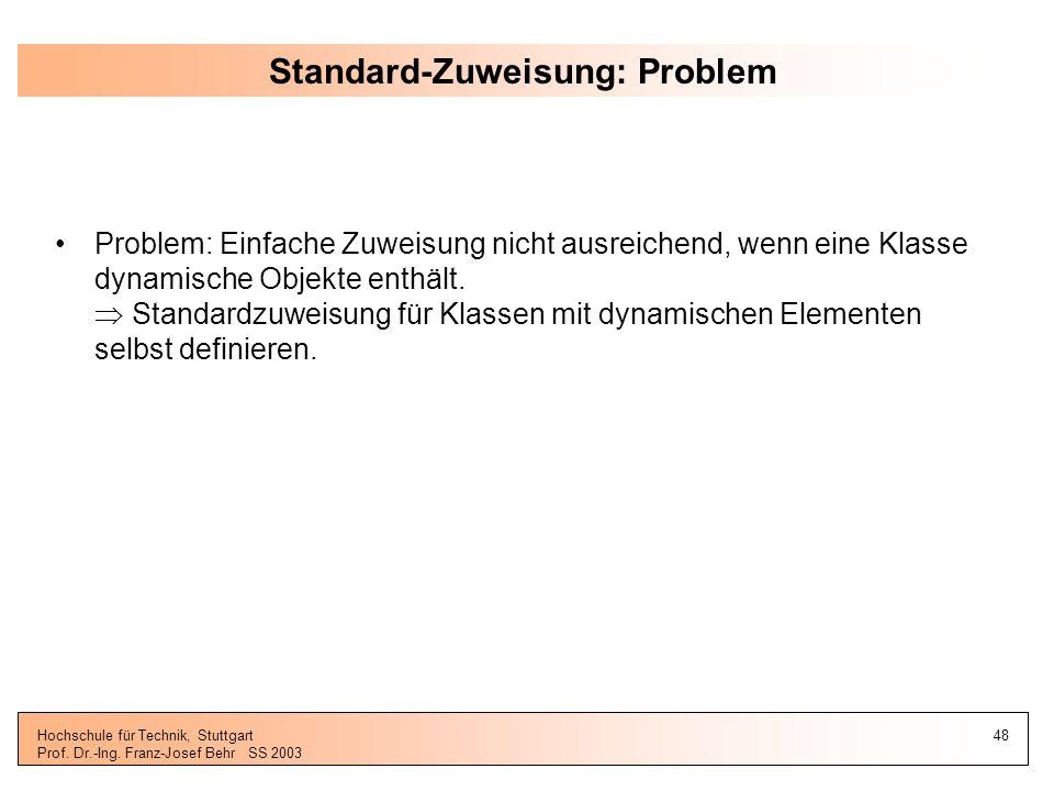 Standard-Zuweisung: Problem