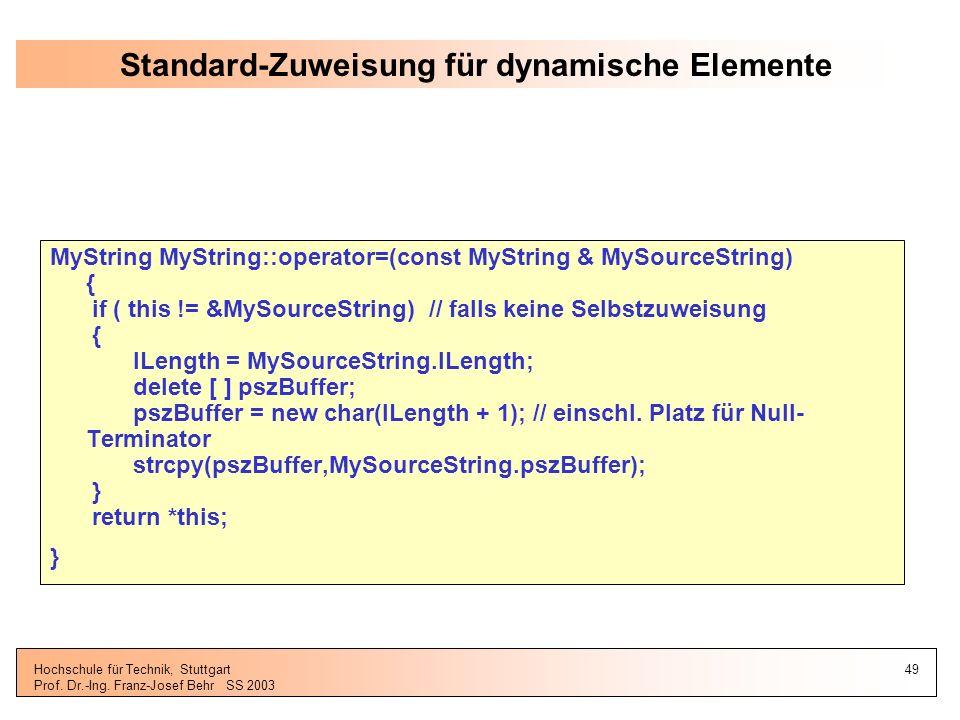 Standard-Zuweisung für dynamische Elemente