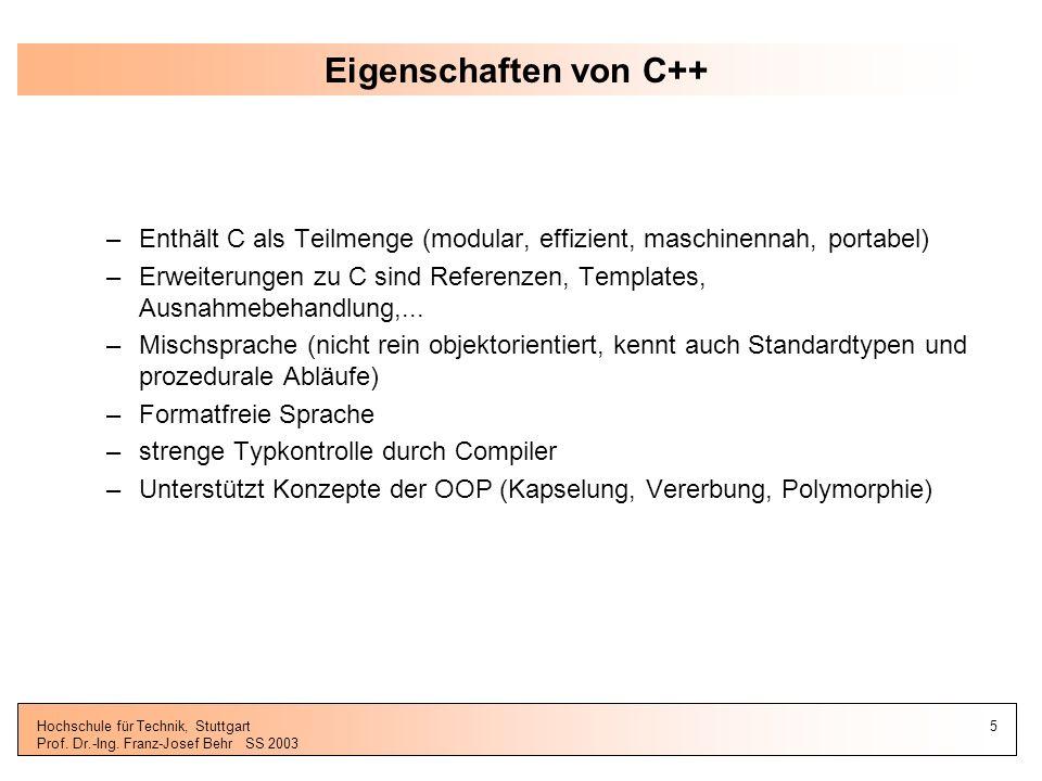 Eigenschaften von C++ Enthält C als Teilmenge (modular, effizient, maschinennah, portabel)