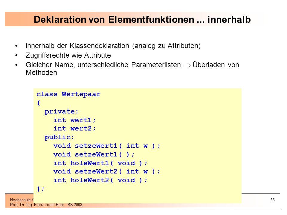 Deklaration von Elementfunktionen ... innerhalb