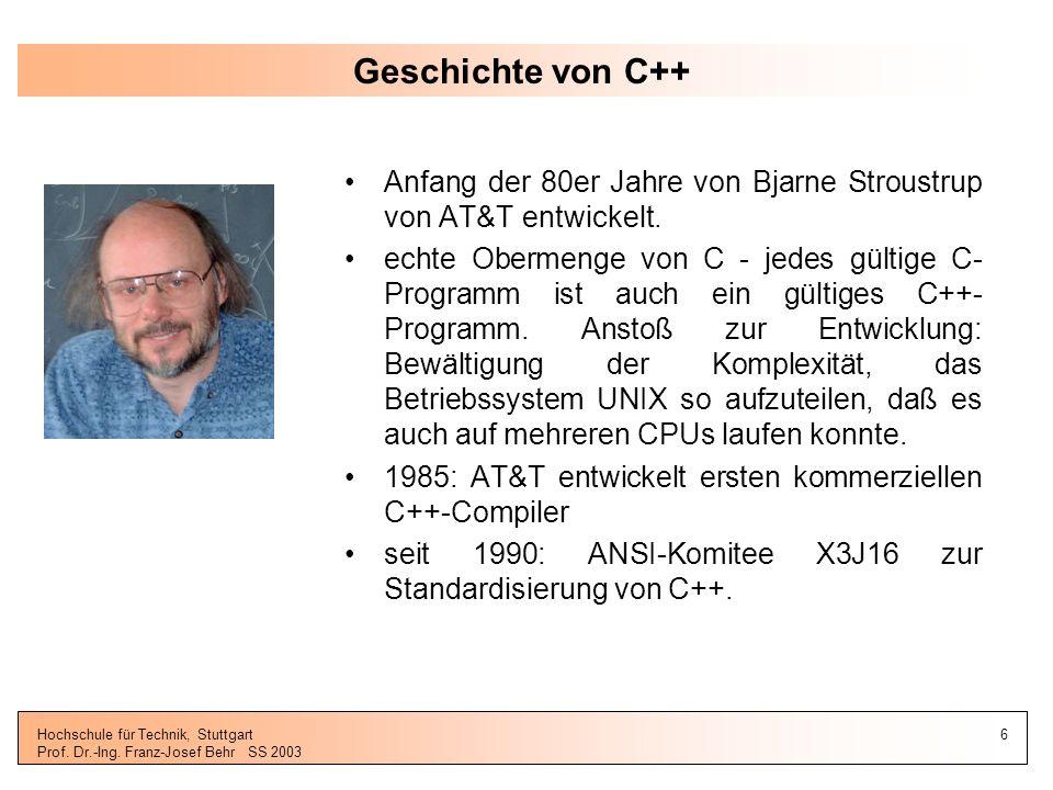 31.03.2017 Geschichte von C++ Anfang der 80er Jahre von Bjarne Stroustrup von AT&T entwickelt.