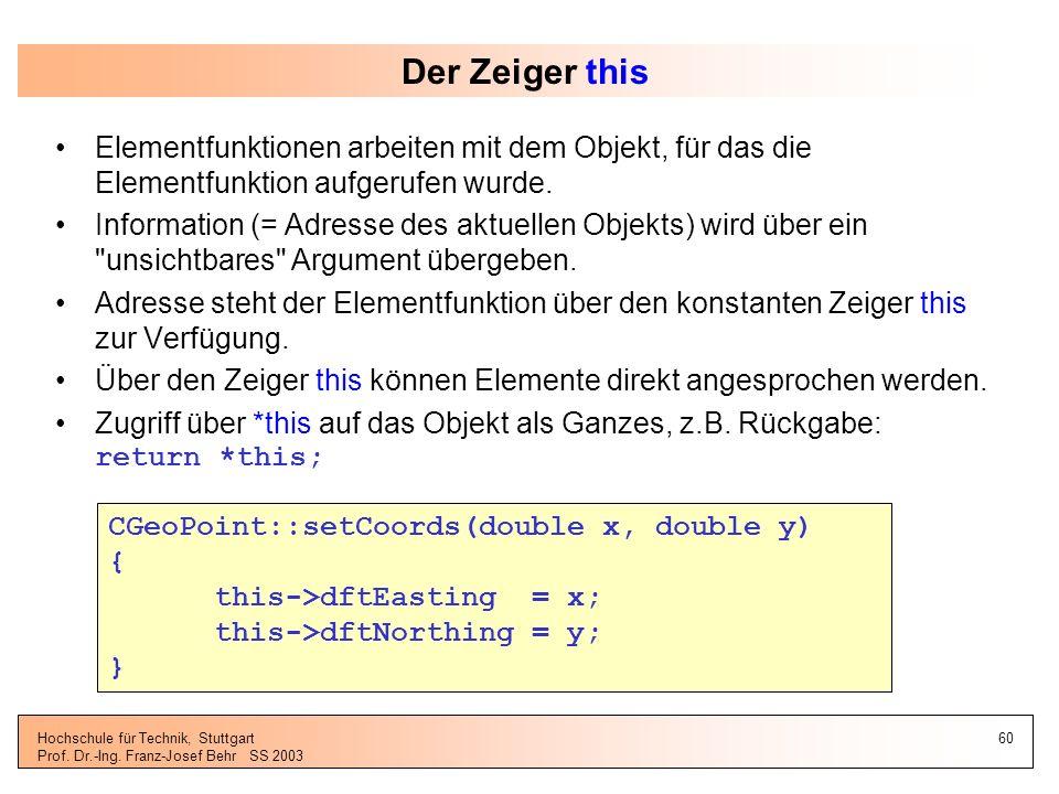 Der Zeiger this Elementfunktionen arbeiten mit dem Objekt, für das die Elementfunktion aufgerufen wurde.