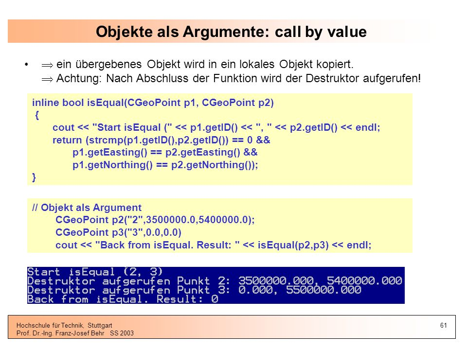Objekte als Argumente: call by value