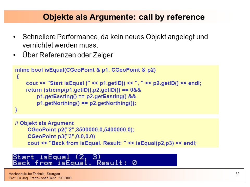Objekte als Argumente: call by reference