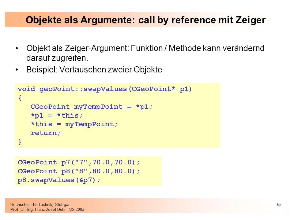 Objekte als Argumente: call by reference mit Zeiger