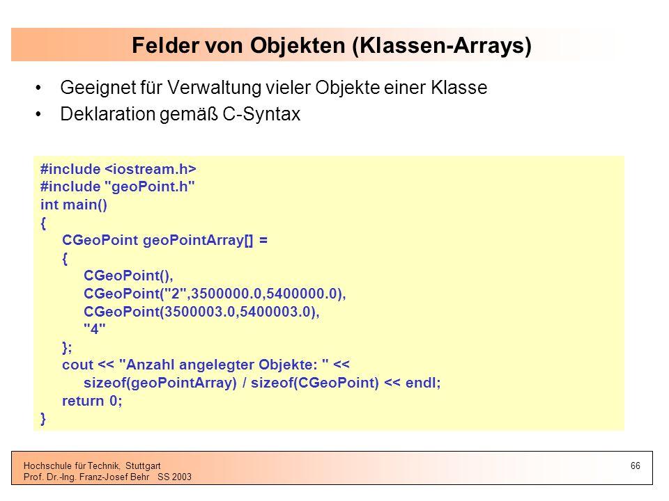 Felder von Objekten (Klassen-Arrays)
