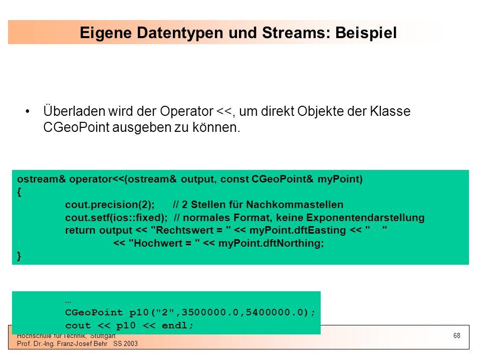 Eigene Datentypen und Streams: Beispiel