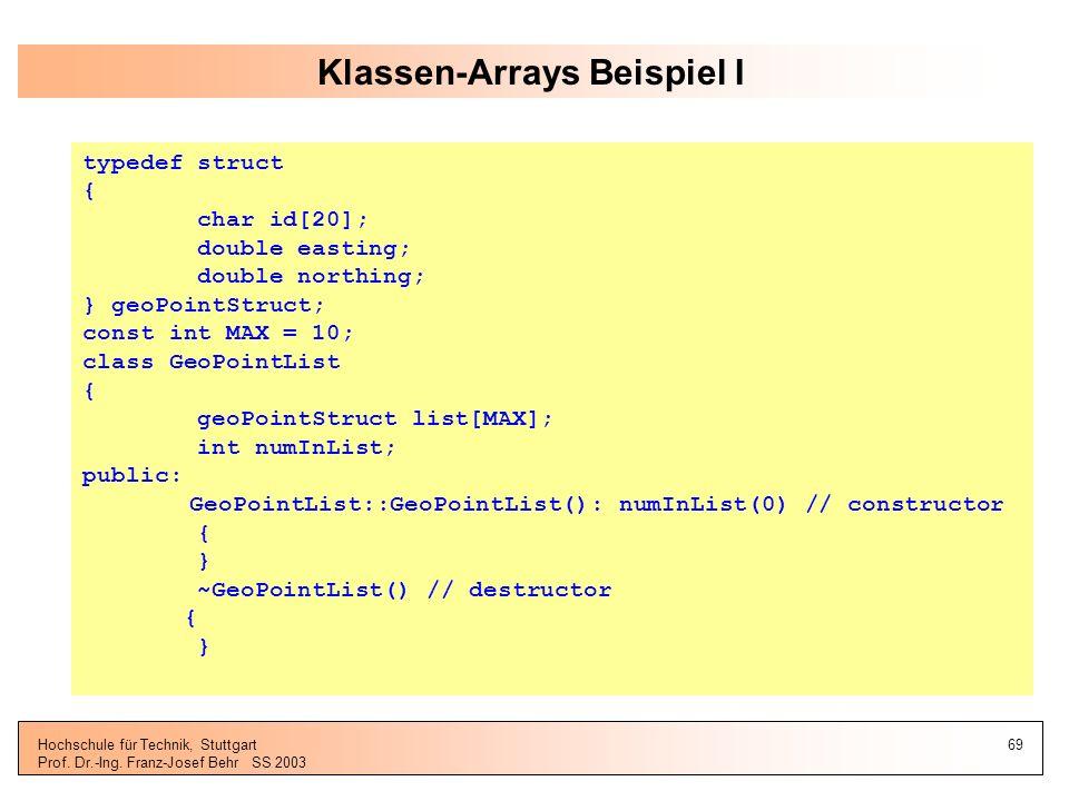 Klassen-Arrays Beispiel I