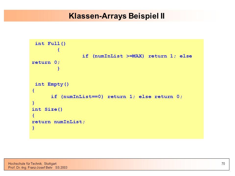 Klassen-Arrays Beispiel II