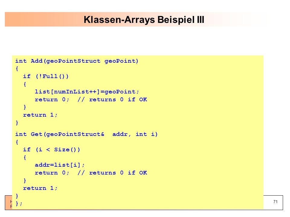 Klassen-Arrays Beispiel III