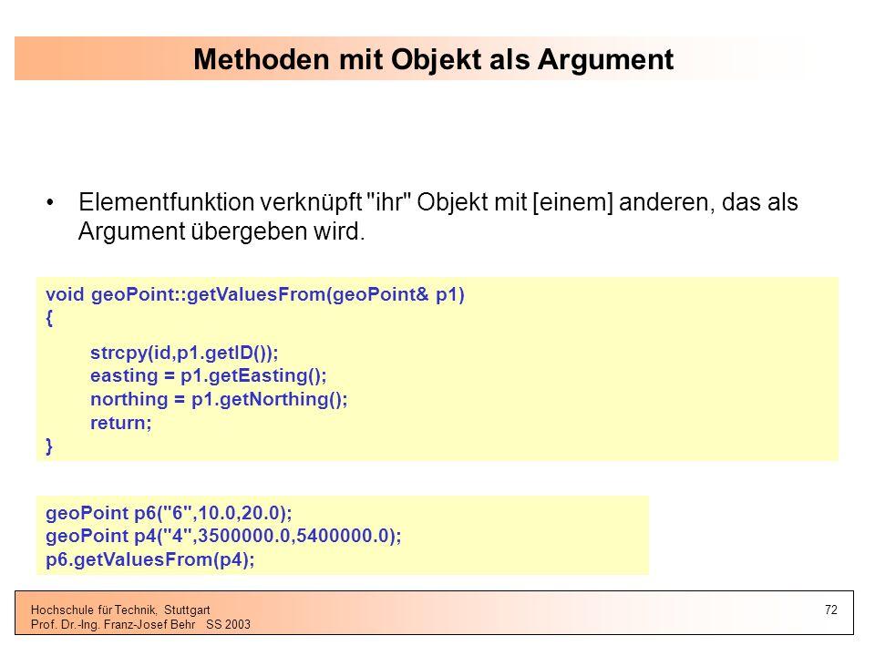 Methoden mit Objekt als Argument