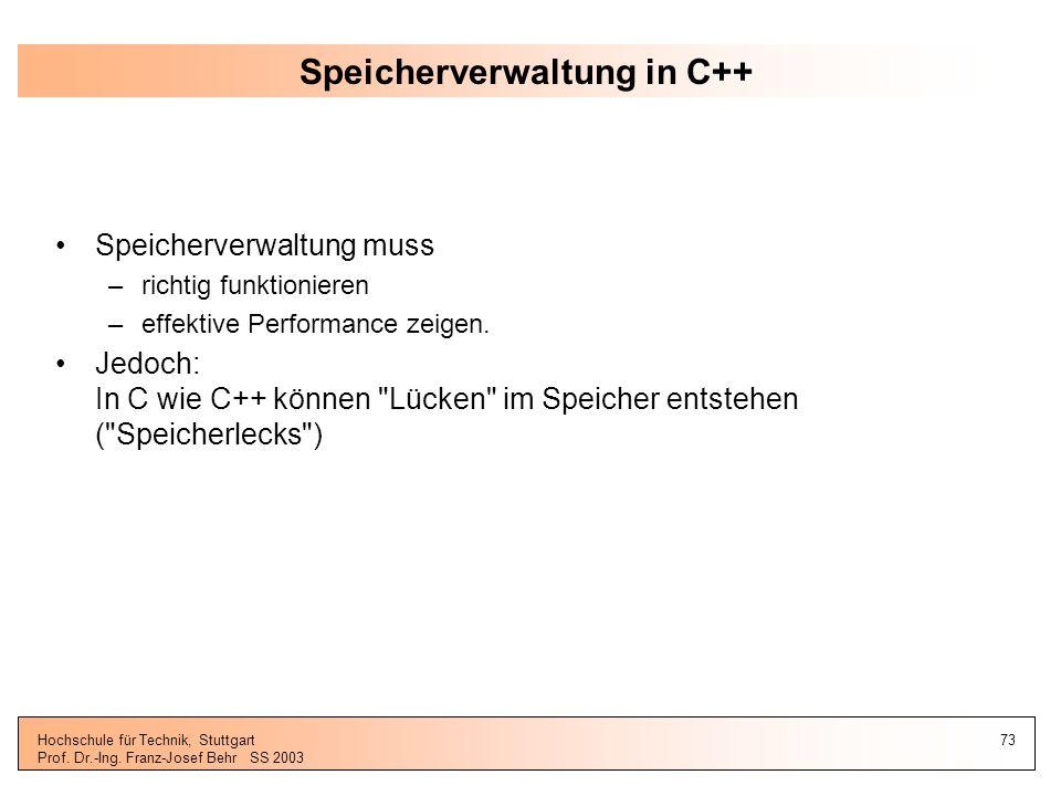 Speicherverwaltung in C++