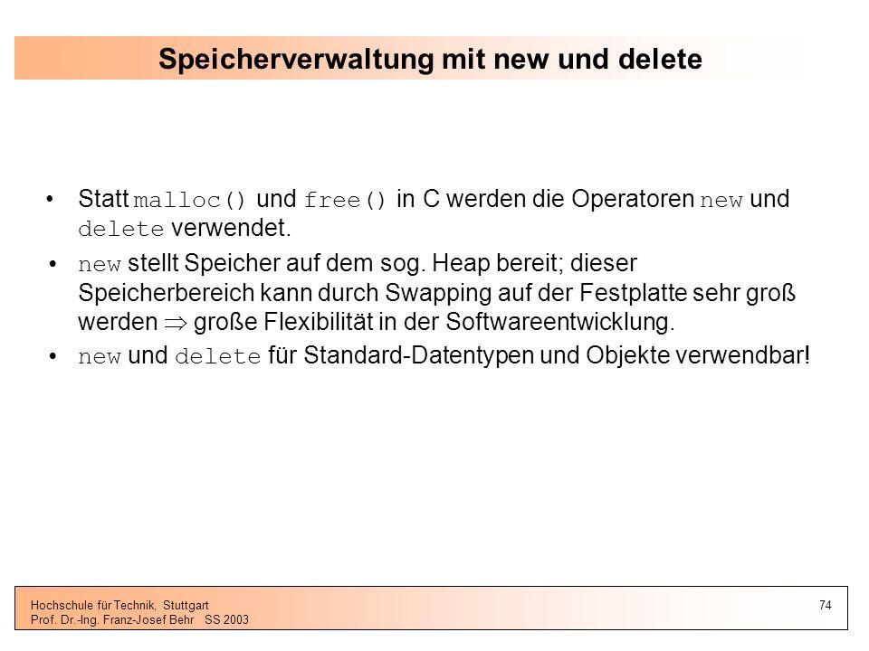 Speicherverwaltung mit new und delete