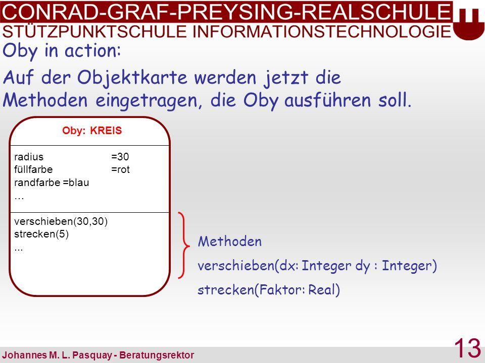 Oby in action: Auf der Objektkarte werden jetzt die Methoden eingetragen, die Oby ausführen soll. Oby: KREIS.