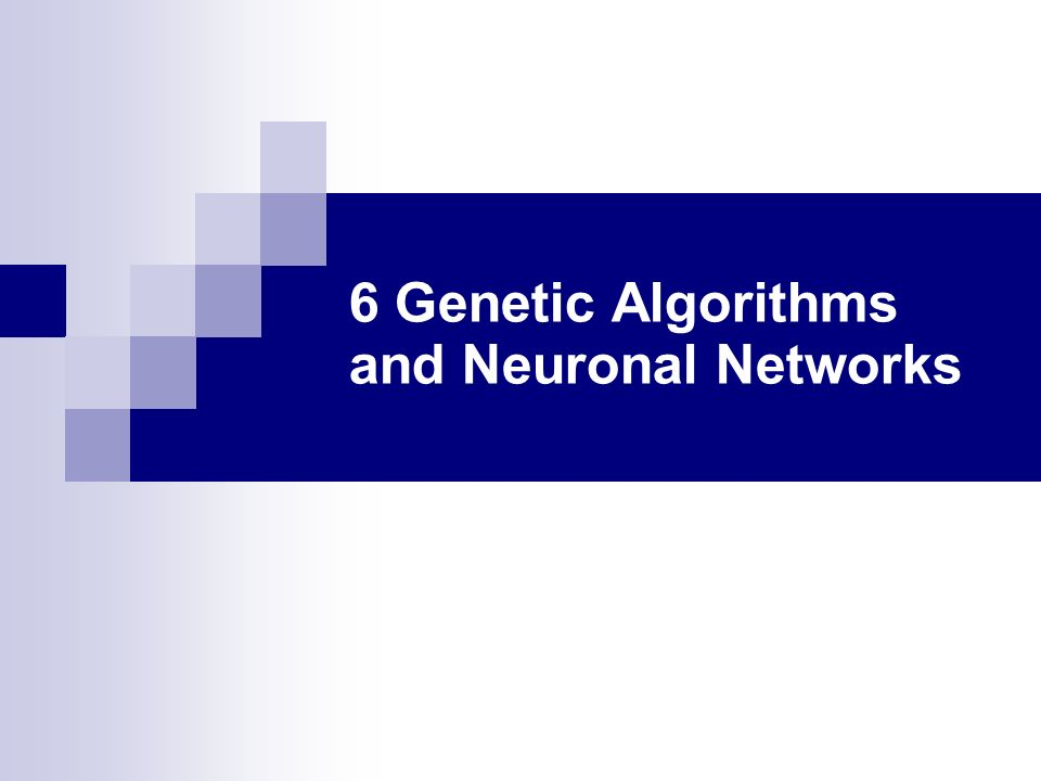 6 Genetic Algorithms and Neuronal Networks