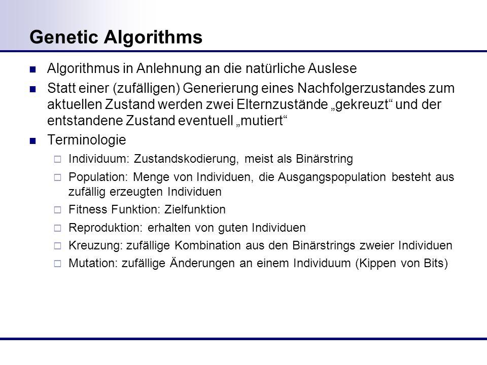 Genetic Algorithms Algorithmus in Anlehnung an die natürliche Auslese