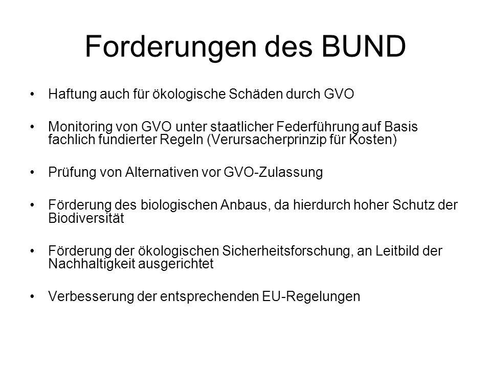 Forderungen des BUND Haftung auch für ökologische Schäden durch GVO