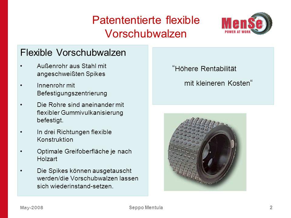 Patententierte flexible Vorschubwalzen