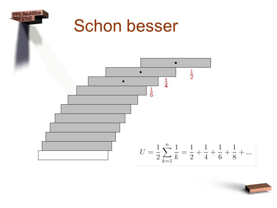 Schon besser Von oben her aufbauen: Schwerpunkt bei ½ ¼ …
